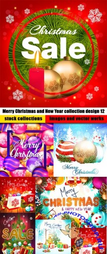 Merry Christmas and New Year collection design 12
