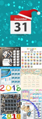 New Year's wall calendar 2018 decor elements