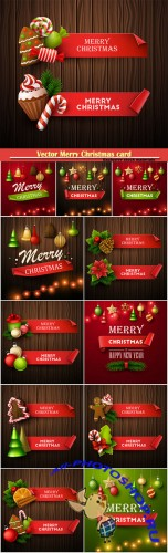Vector Merry Christmas card and holiday banner