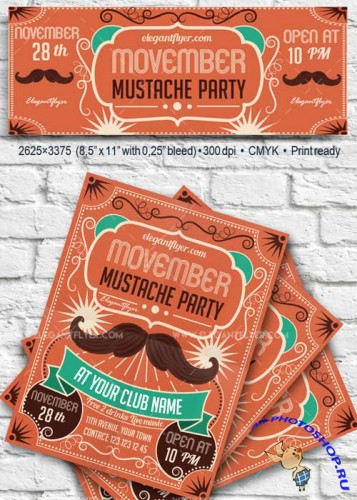 Movember Mustache Party V33 2017 Flyer PSD Template + Facebook Cover