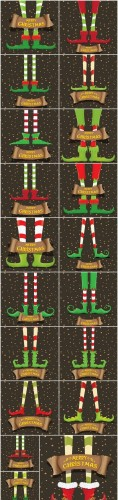 Collection of backgrounds with Christmas elves - 13xEPS