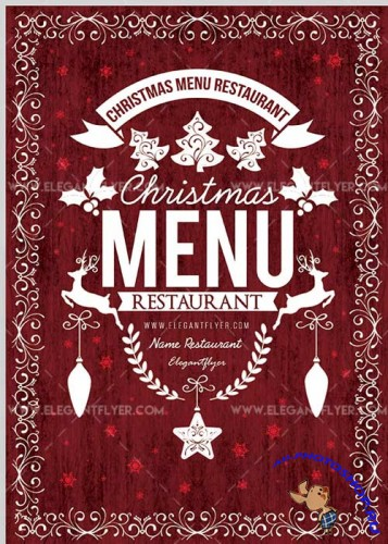 Christmas Menu Restaurant Flyer V02 PSD Template