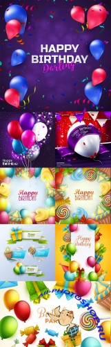 Happy birthday holiday invitation balloons gifts and sweets