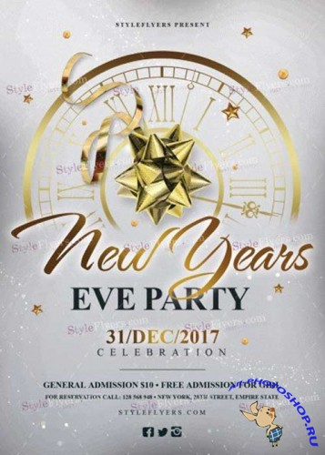New Year's Eve V11 2017 Party PSD Flyer Template
