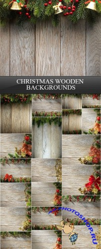 Christmas Wooden Backgrounds 30xJPG