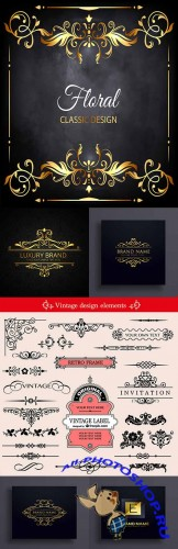 Vintage decorative flower elements and brand name