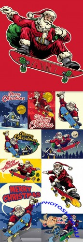 Santa Claus ride skateboard in vintage drawing style