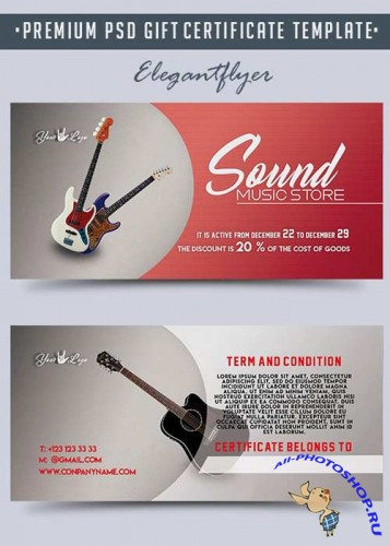 Music Store V1 Premium Gift Certificate PSD Template