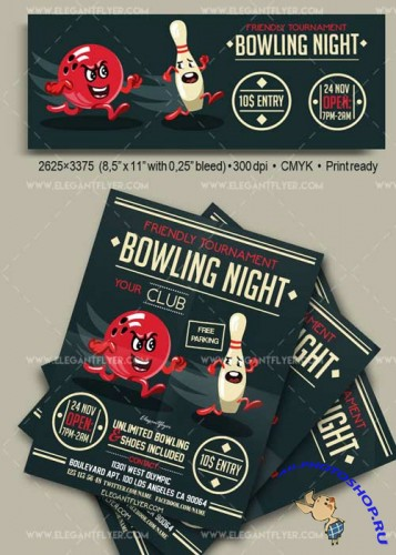 Bowling Night V17 Flyer PSD Template + Facebook Cover