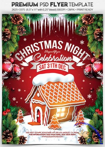 Christmas Night Celebration V46 2017 Flyer PSD Template + Facebook Cover