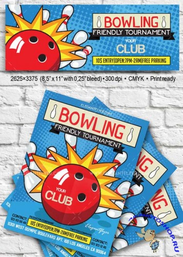 Bowling V19 Flyer PSD Template + Facebook Cover