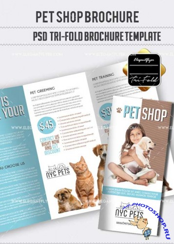 Pet Shop V1 Tri-Fold PSD Brochure Template