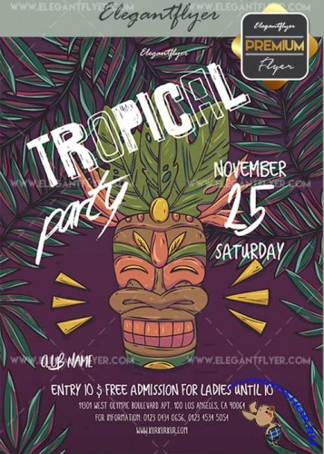 Tropical Party V19 Flyer PSD Template + Facebook Cover