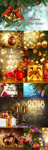 Happy New Year and Merry Christmas 2018 design