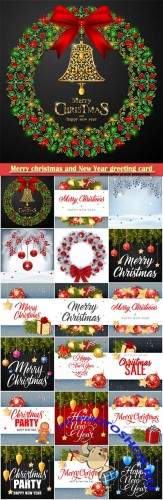 Merry christmas and New Year greeting card vector # 24