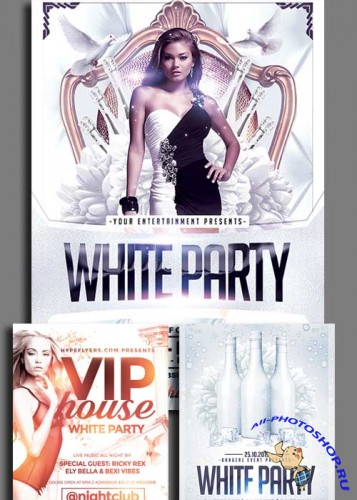 White Party 3in1 V1 Flyer Template