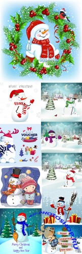 Happy snowman and Merry Christmas cartoon