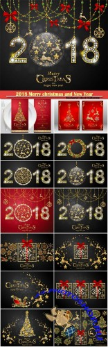 2018 Merry christmas and New Year greeting card vector