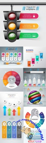 Modern business infographics elements collection 297