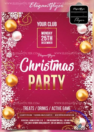 Christmas party V15 2017 Flyer PSD Template + Facebook Cover