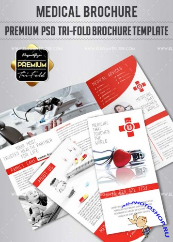 Medical V9 Premium Tri-Fold PSD Brochure Template
