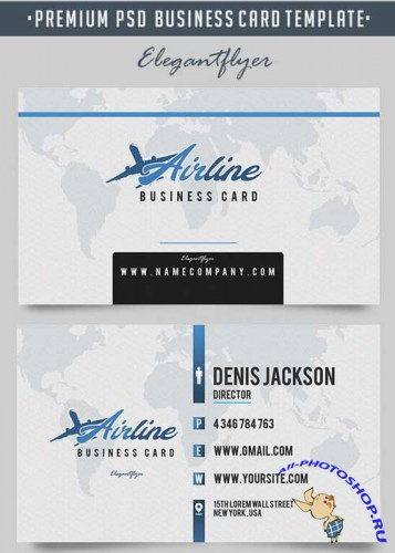 Airline V1 Premium Business Card Templates PSD