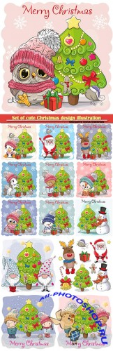 Set of cute Christmas design illustration