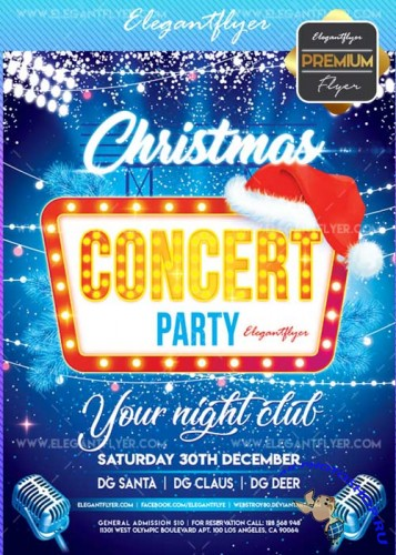 Christmas Concert V5 2017 Flyer PSD Template + Facebook Cover