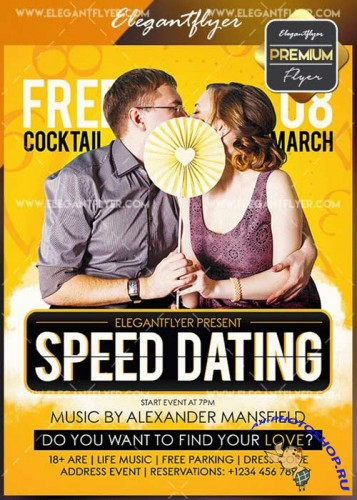 Speed Dating V3 Flyer PSD Template + Facebook Cover