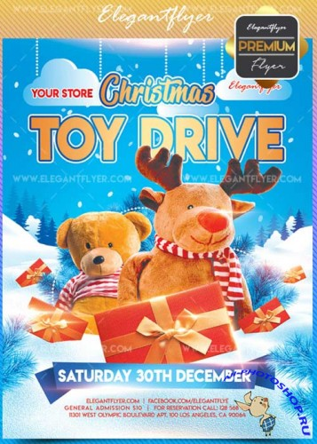 Christmas Toy Drive V1 2017 Flyer PSD Template + Facebook Cover