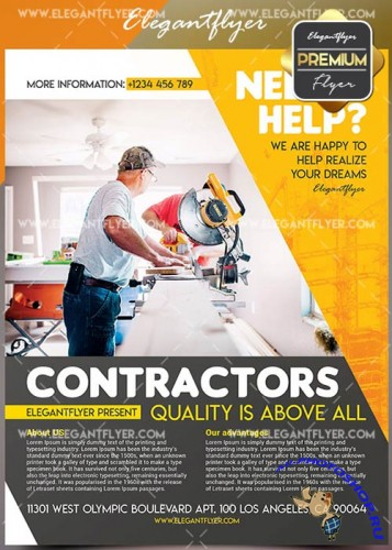 Contractors V1 Flyer PSD Template + Facebook Cover