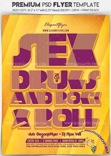 Sex Drugs and Rock & Roll V3 Flyer PSD Template + Facebook Cover