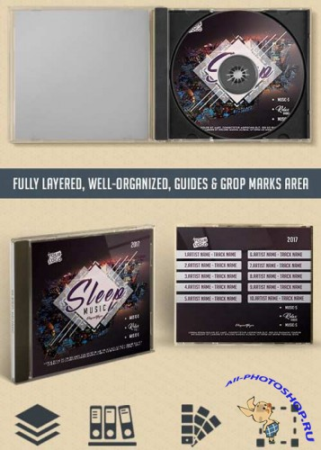 Sleep Music V1 Premium CD Cover PSD Template