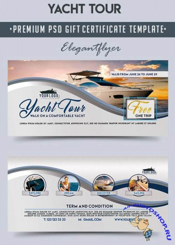 Yacht Tour V1 Premium Gift Certificate PSD Template