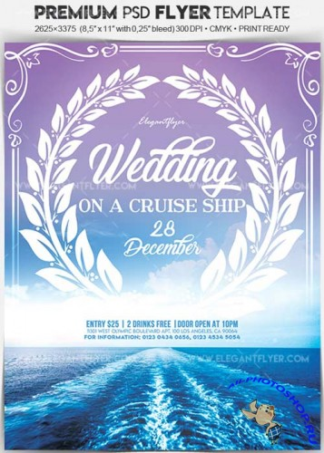 Wedding on a Cruise ship V1 Flyer PSD Template + Facebook Cover