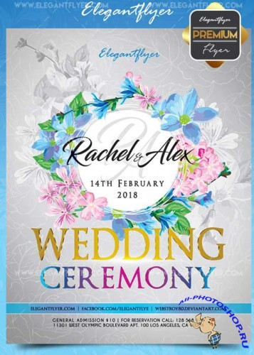 Wedding ceremony V5 Flyer PSD Template + Facebook Cover