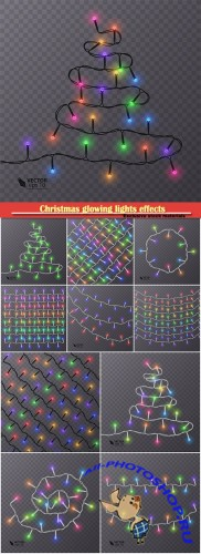 Christmas glowing lights effects vector design elements