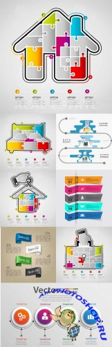 Modern business infographics elements collection 298