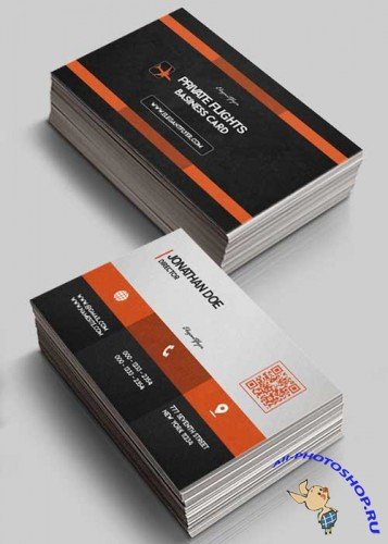 Private Flights V1 Business Card Templates PSD