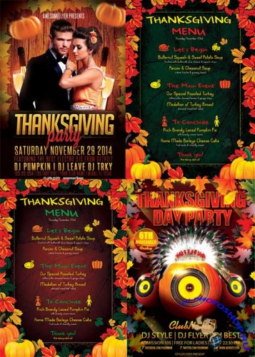 Thanksgiving 2017 4in1 V2 Flyer PSD Template