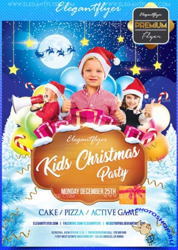 Kids Christmas party V18 2017 Flyer PSD Template + Facebook Cover