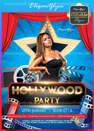 Hollywood Party V1 2018 Flyer PSD Template + Facebook Cover
