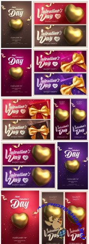 Valentine Day Banners Background - 10 Vector