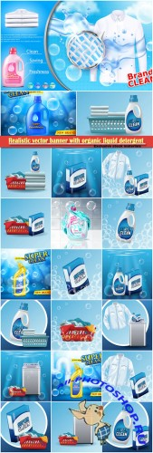 Realistic vector banner with organic liquid detergent with brand label, with splashed cleanser and soap bubbles