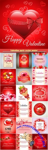 Valentine party vector poster, happy valentine various card