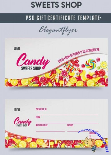 Sweets Shop V1 2018 Gift Certificate PSD Template