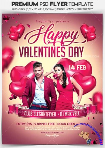 Happy Valentines Day V1 2018 Flyer PSD Template + Facebook Cover