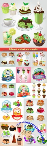 Different product sets in vector, sweets, drinks, pastries, ice cream