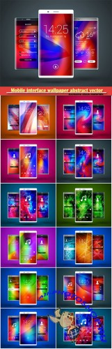 Mobile interface wallpaper abstract vector background design