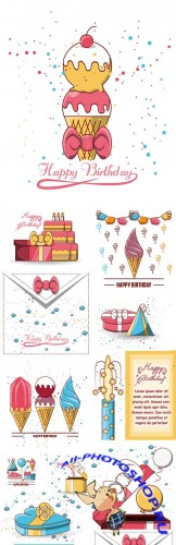 Happy birthday invitation cake ice cream and gifts